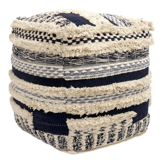 Pasargad Home Grandcanyon Collection Cotton Pouf For Sale