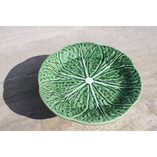 Majolica Style Cabbage Green Pattern Pedestal Plate by Bordallo Pinheiro Preview