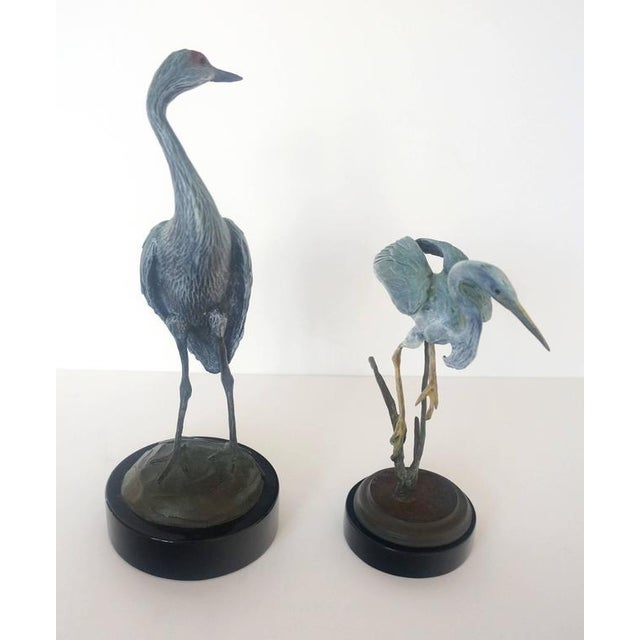 Set of Two Patinated Bronzes by Geoffry C. Smith of a Sandhill Crane & Heron - Image 7 of 10