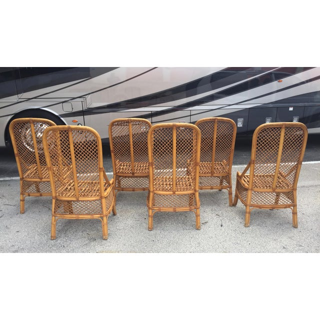 Brown 1970s Vintage Chippendale Style Rattan Bamboo Dining Chairs- Set of 6 For Sale - Image 8 of 11