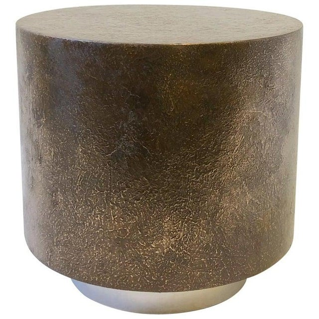 Gold Bronze and Polish Stainless Steel Drum Side Table by Steve Chase For Sale - Image 8 of 8