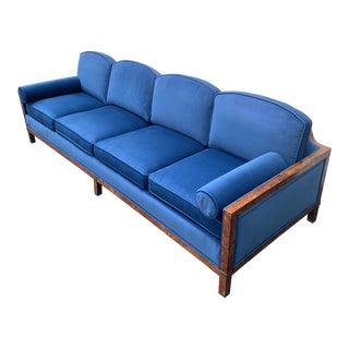 Mid-Century Modern Burlwood Velvet Sofa For Sale