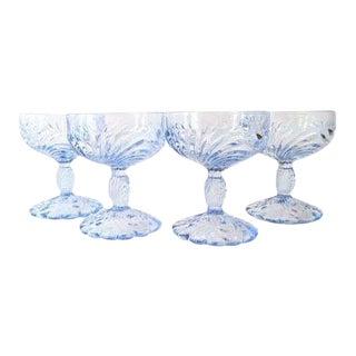 1930s Art Deco Cambridge Blue Champagne Coupes - Set of 4