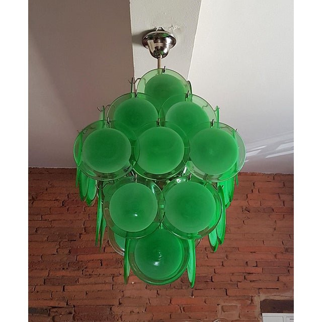 Mid-Century Modern Green Disc Murano Chandelier by Vistosi For Sale In Boston - Image 6 of 9