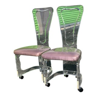 1970s Vintage Hill Manf Lucite Caster Sculptural Back Chairs- A Pair For Sale