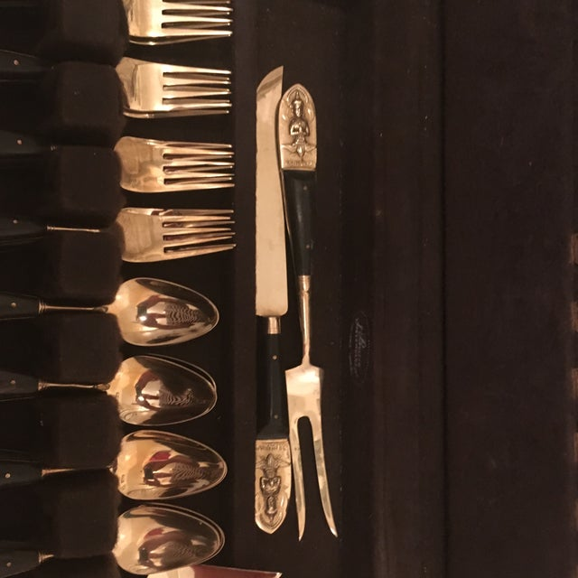 Gold Mid Century Brass and Rosewood J. Thailand Flatware Set 28 Pieces For Sale - Image 8 of 12