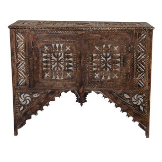 Vintage Moroccan Hand-Carved Wooden Trunk With Doors For Sale