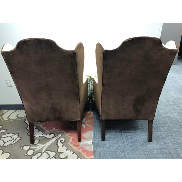 Boho Chic 1976 Boho Chic Woodmark Crewel Wingback Arm Chairs - a Pair For Sale - Image 3 of 13