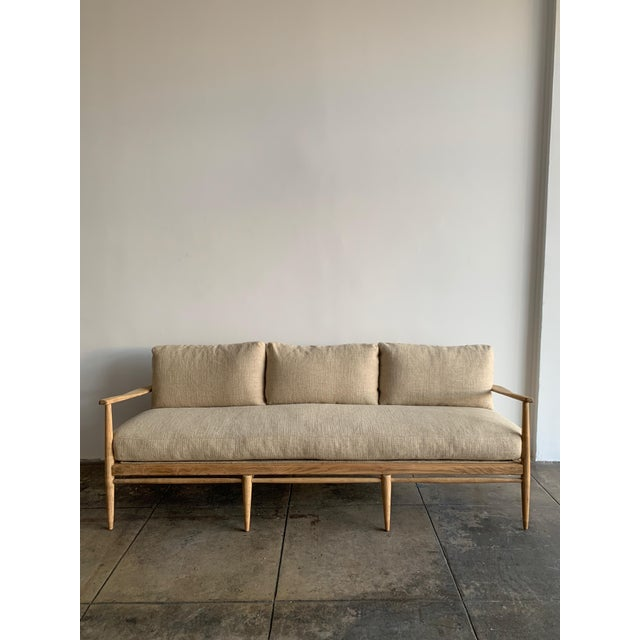Beige MCM Danish Wood and Woven Cane Couch For Sale - Image 8 of 10
