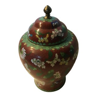 Vintage Metal Cloisonné Lacquer Urn For Sale
