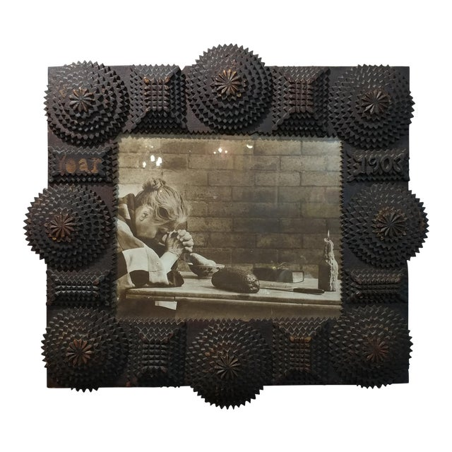 1903 Antique Tramp Art Wooden Picture Frame For Sale