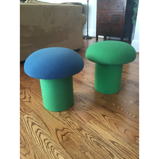 Fabric Memphis Style Mushroom Ottomans Stools - a Pair For Sale - Image 7 of 9