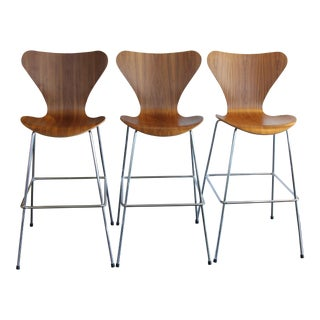 DWR Series 7 Walnut Bar Stools - Set of 3