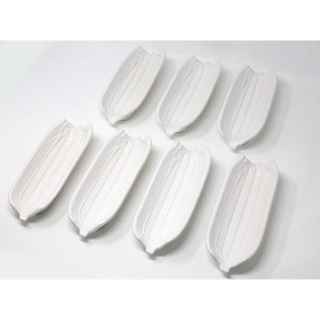 Farmhouse White Ceramic Corn on the Cob Holders - Set of 7 For Sale - Image 3 of 9