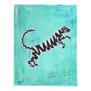 Chinoiserie Abstract Tiger Painting by Cleo Plowden For Sale