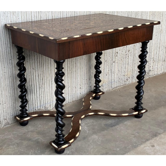 Late 18th Century 18th Century William and Mary Marquetry Side Table With Turned Legs & Stretcher For Sale - Image 5 of 12