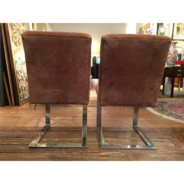 Directional Paul Evans Mid-Century Modern Suede and Chrome Dining Chairs - Set of 6 For Sale - Image 4 of 7