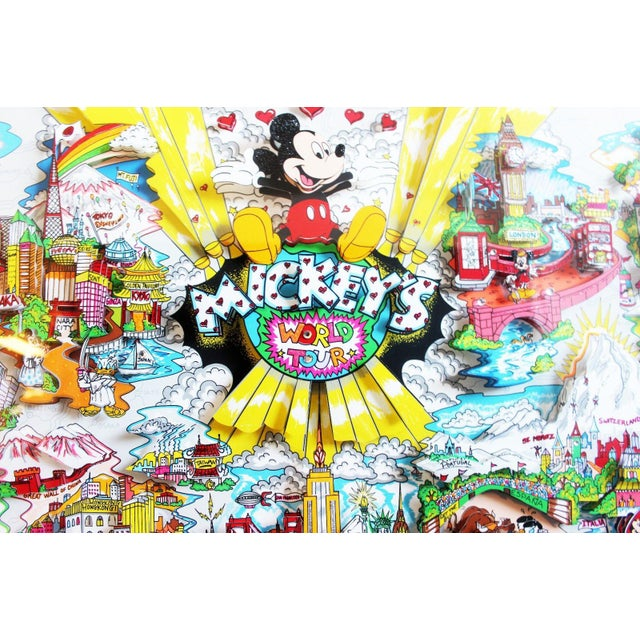 Mickey's World Tour 3d Framed Art by Charles Fazzino For Sale - Image 4 of 10