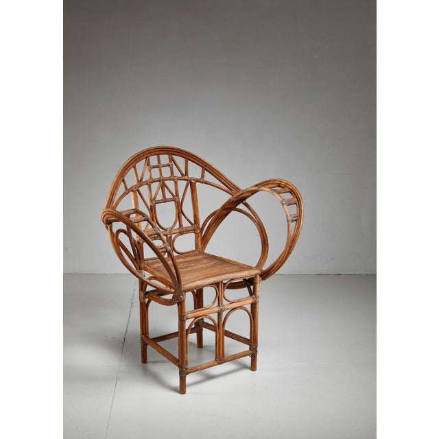 Animal Skin Curved hand-crafted willow chair, Austria For Sale - Image 7 of 7