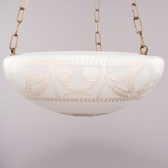 French 1920s Hand Painted Opaline Fixture From Paris Dior Boutique For Sale - Image 3 of 12