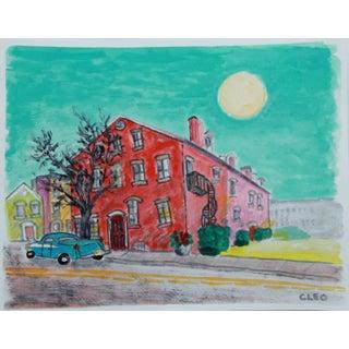 City Landscape Village Vintage Car Painting by Cleo For Sale
