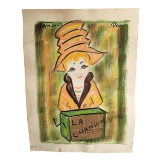 "Vintage French ""La Chanson"" Mixed Media Original Painting For Sale"