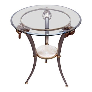 Regency Style Glass Top Side Table For Sale