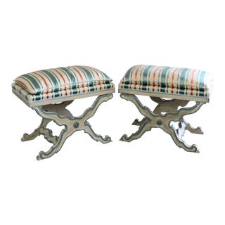 20th Century Swedish Style X Benches - a Pair For Sale