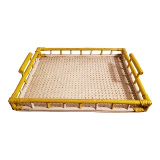 1940's Boho Chic Yellow and White Painted Woven Bamboo Dowel Jointed Wood Serving Tray For Sale