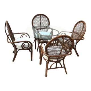 1970s Bentwood Rattan Fan Back Dining Set - 5 Pieces For Sale