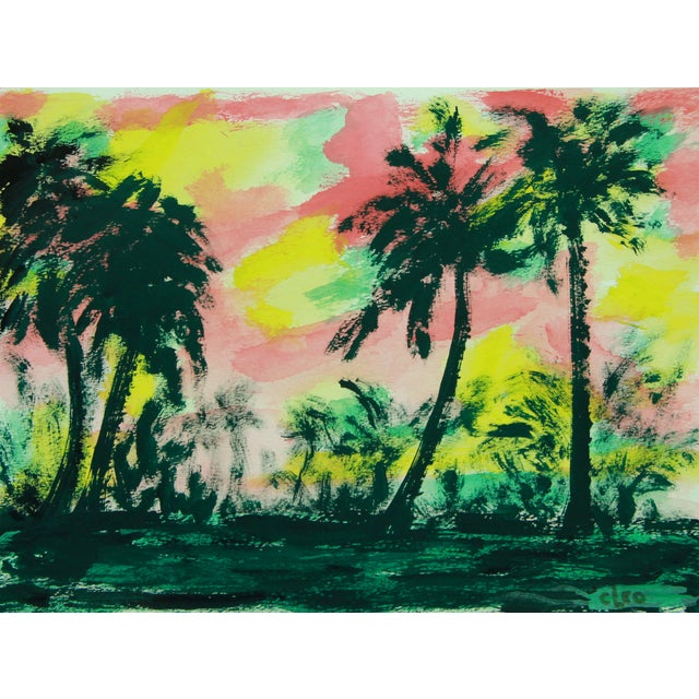 """Wild Palm Grove"" Abstract Painting by Cleo - Image 2 of 2"