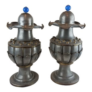 1920s Vintage Chinese Art Deco Pewter Urns - A Pair For Sale
