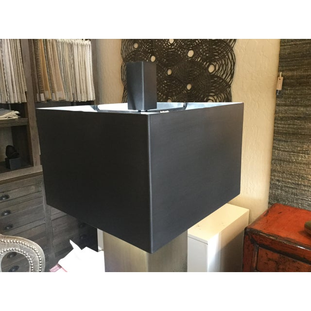Square Bronze Table Lamp With Metal Shade - Image 2 of 7