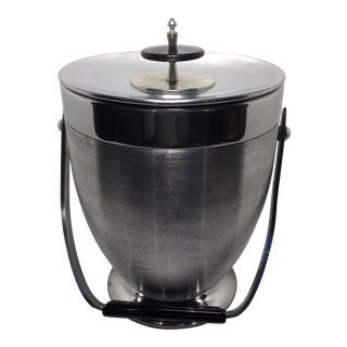 Kromex Brushed Stainless Steel & Chrome Ice Bucket