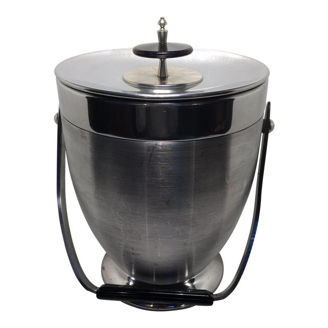 Kromex Brushed Stainless Steel & Chrome Ice Bucket For Sale
