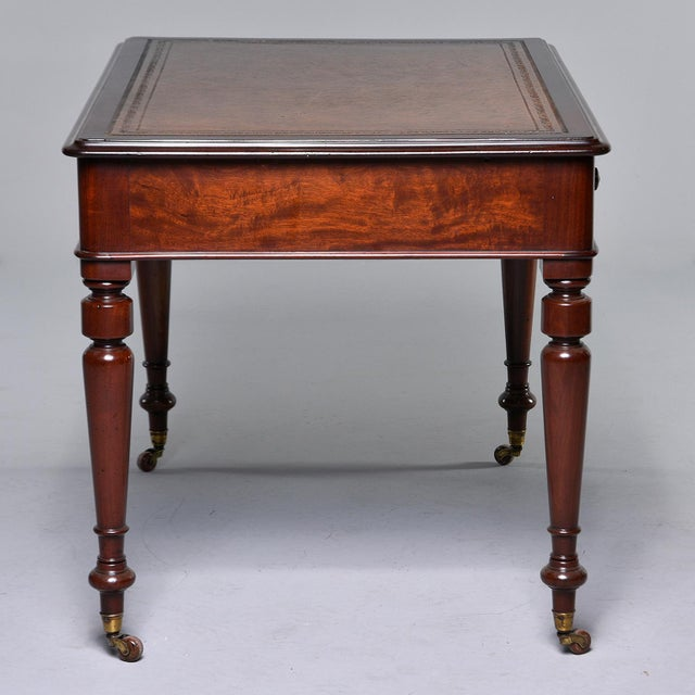 Gold Late 19th Century English Mahogany Desk With Leather Top For Sale - Image 8 of 13