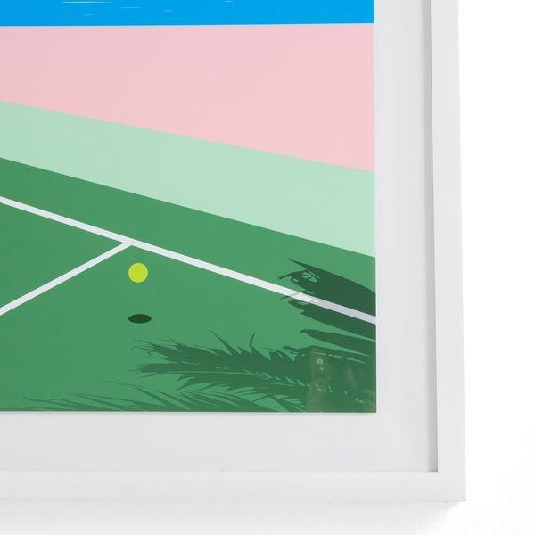 Mid-Century Modern Seaside Tennis Print by Teague Studios, Framed For Sale - Image 3 of 4