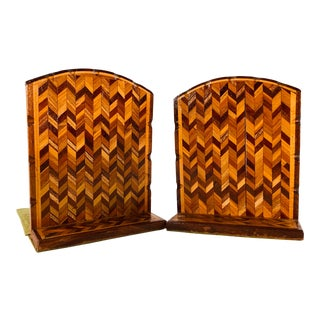 Vintage Wood Chevron Style Bookends, Pair For Sale