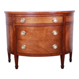Mahogany Demilune Sideboard Credenza or Chest of Drawers For Sale