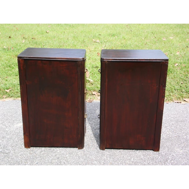 Antique Pair Art Deco Walnut Nightstands End Tables Bedroom Stands For Sale - Image 10 of 13