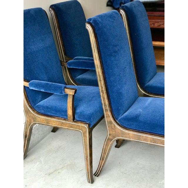 Mid-Century Modern Mid-Century Modern Blue Velvet Dining Chairs - Set of 4 For Sale - Image 3 of 11