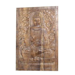 1990s Vintage Hand Carved Wooden Sitting Buddha Abhaya Wall Panel For Sale