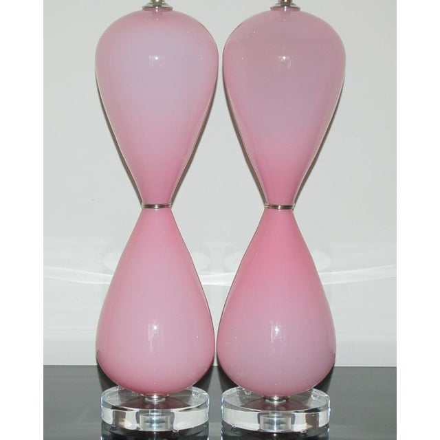 Hollywood Regency Vintage Murano Opaline Glass Table Lamps Pink For Sale - Image 3 of 10