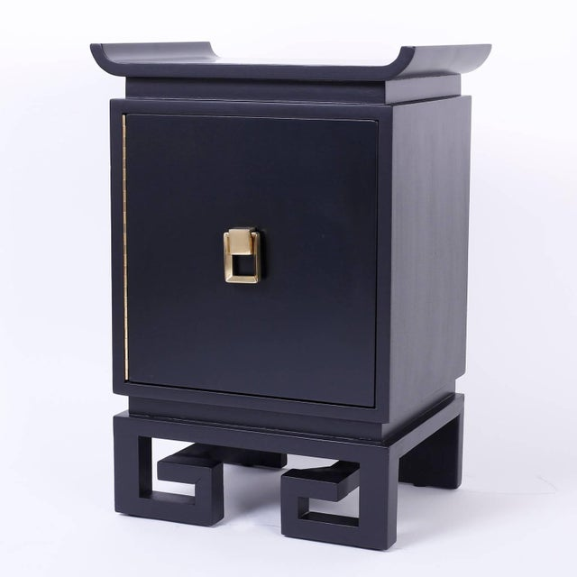 Mid-Century Modern Mid-Century Black Lacquered Bedside Chests or Nightstands - A Pair For Sale - Image 3 of 10