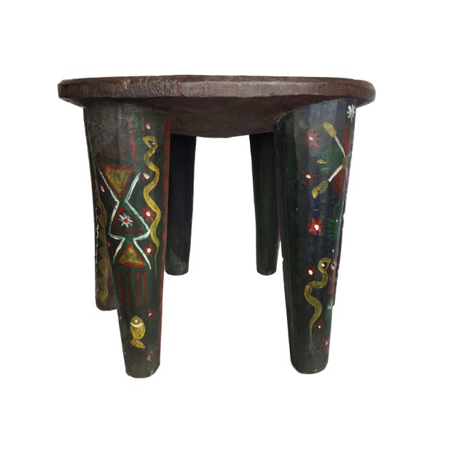 """1970s African Lg Nupe Stool Nigeria 16.75"""" H by 20.5"""" W For Sale - Image 5 of 13"""