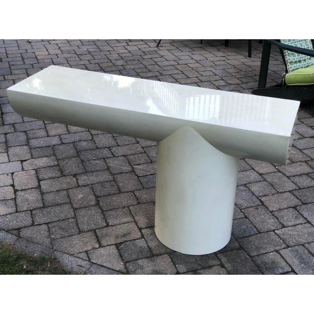 """1970s J. Wade Beam """"Tee"""" Console Table for Brueton For Sale - Image 10 of 13"""
