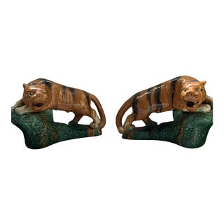 Hollywood Regency Majolica Glaze Terracotta Tigers - a Pair For Sale
