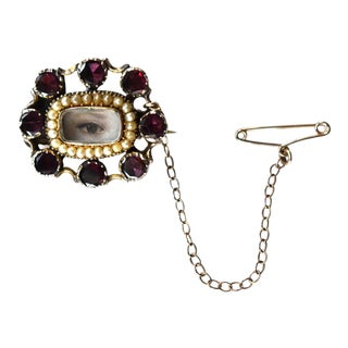 Antique Georgian Garnet and Seed Pearl Brooch With Contemporary Lover's Eye Painting by S. Carson For Sale