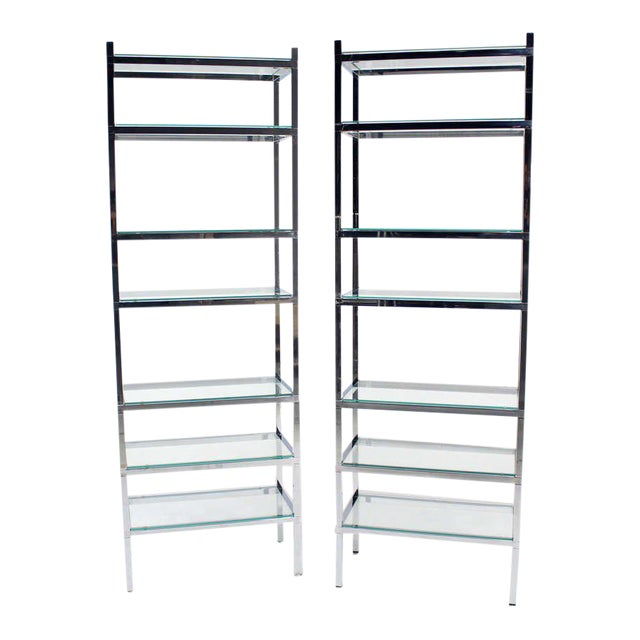Pair of Tall and Narrow Chrome Etageres by Charles Jones For Sale