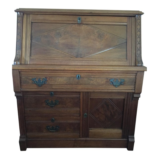 Antique Fall Front Secretary Desk - Image 1 of 6